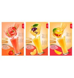 set labels fruit in juice splashes vector image