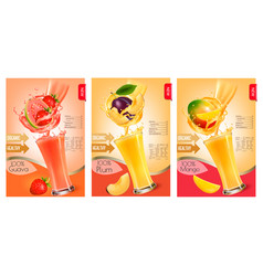 set of labels of of fruit in juice splashes vector image