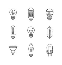 set of light bulb icons and concepts in sketch vector image