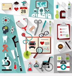 Set of medical flat design concept icons for web vector image