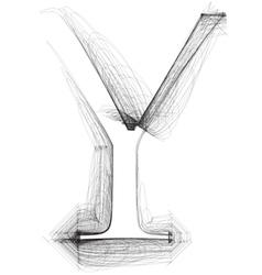 Sketch font letter y vector