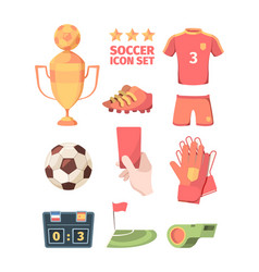 soccer set winners gold cup with ball hand holds vector image
