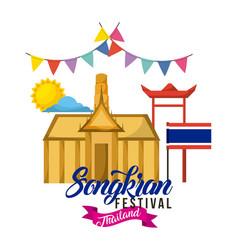 Songkran festival thailand building flag pennant vector