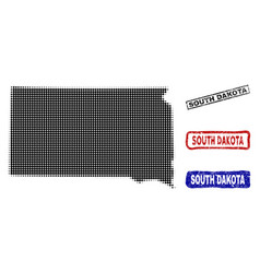 South dakota state map in halftone dot style with vector
