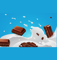 splashes milk and falling pieces chocolate bar vector image