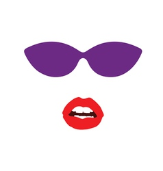 Sunglasses and lip face vector