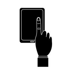 tablet with hand icon image vector image