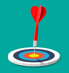 Target with arrow in center goal setting vector