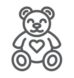 Teddy bear line icon animal and child plush toy vector