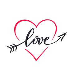 the word love hand drawn lettering love in the vector image