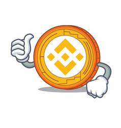 Thumbs up binance coin character catoon vector