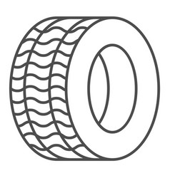 tire thin line icon automobile wheel vector image