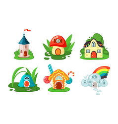 toy fairy houses set mushroom door and windows vector image