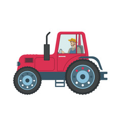 Tractor man driving car icon vector