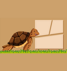 turtle on note template vector image