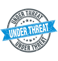 under threat blue round grunge vintage ribbon vector image