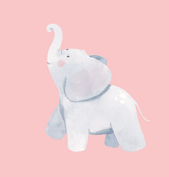Watercolor baby elephant vector