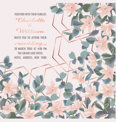 Wedding invitation with eucalyptus and flowers vector