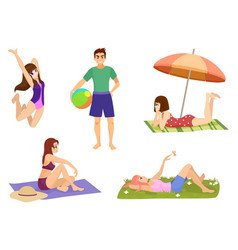 Young people and on vacation beach set summer vector