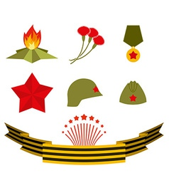 9 may Set elements victory day vector image