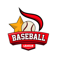 baseball league logotype with ball star and vector image