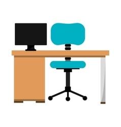 Office desk work place vector