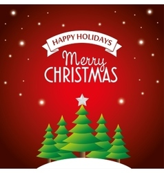 postcard happy holidays merry christmas pine tree vector image vector image