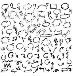 black hand drawn arrows and speech bubbles set vector image