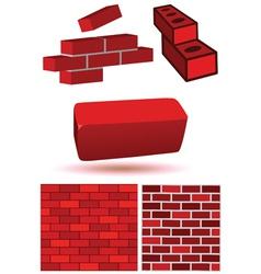 brick wall set vector image vector image