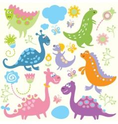 cartoon dinosaurs vector image vector image