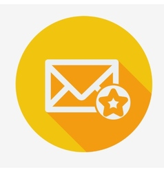 Mail icon simple star Flat design vector image vector image