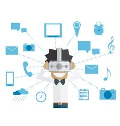 Man and head-mounted display vector image