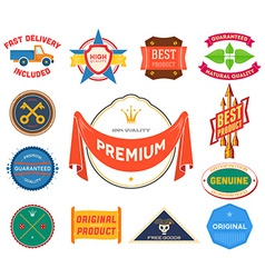 Set of flat colored vintage labels Collection 9 vector image