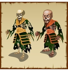 Two Asian zombies in the traditional rags costumes vector image vector image