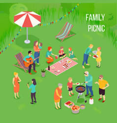 family picnic isometric vector image vector image