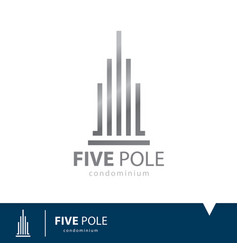 five pole icon symbol vector image