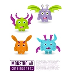 Monsters set Cute cartoon monsters vector image vector image