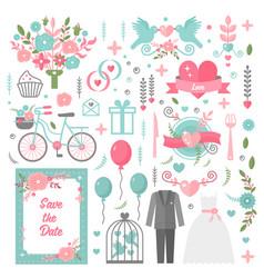 wedding vintage graphic set of suit dress arrows vector image vector image