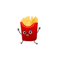 french fries character with happy human face vector image