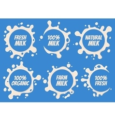 Milk Logo and Labels Designs with Lettering Set vector image vector image