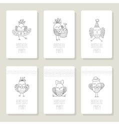 Set cards with cute birds in different actions vector image
