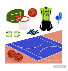 Set of Basketball Equipment on White Background vector image vector image
