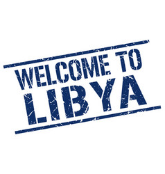 welcome to libya stamp vector image vector image