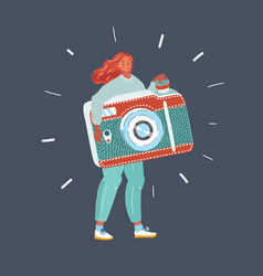 a woman taking a photo vector image