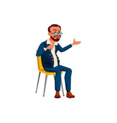 Adult guy telling boring story on job cartoon vector