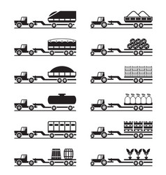 Agricultural tractors with trailers vector