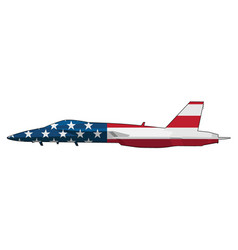 american flag military fighter jet airplane vector image