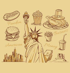 American food statue of liberty manhattan vector