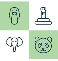 Animal icons set collection of serpent duck vector