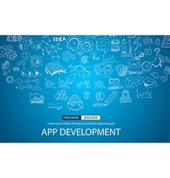 App Development Concept with Doodle design style vector